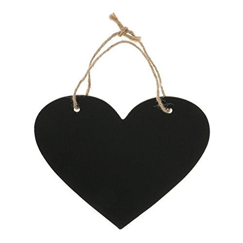 WINOMO Heart Chalkboard Sign Wedding Hanging Decoration Wooden Blackboard