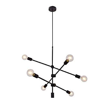 6 Lights Black Chandelier Vintage Industrial Ceiling Lighting Fixture Adjustable Pendant Lighting