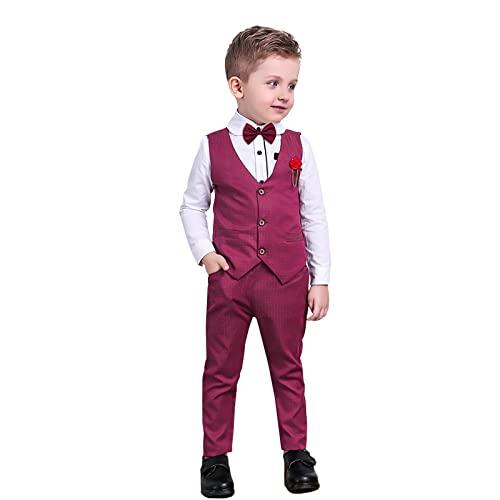 Nwada Trajes para Niño Ropa Chaleco Corbata de moño Camisas y Pantalones Conjuntos Esmoquin Chaquetas de Traje y Pantalones Rojo 2-3años