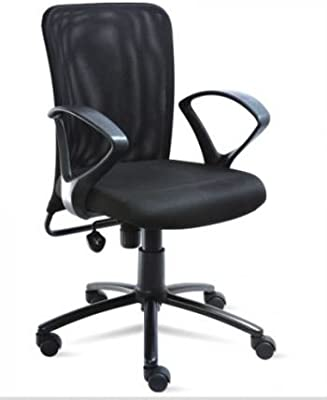 Sigma Fabric Nylon Netted Mesh Low Back with Fixed Arm Rest Chair (Black)