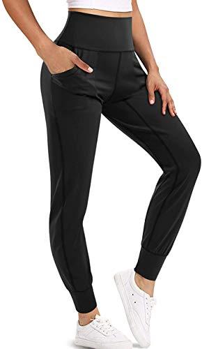 Chumian Leggings Donna Fitness Pantaloni Sportivi Yoga Vita Alta Allenamento Palestra (Nero, L)