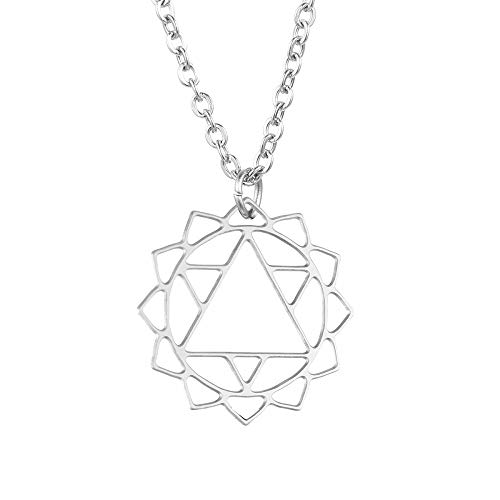 Tara Kette Anhänger Anahata-Herzchakra Mandala Chakra Edelstahl Schmuck mit Bedeutung Yogaschmuck Farbe Silber