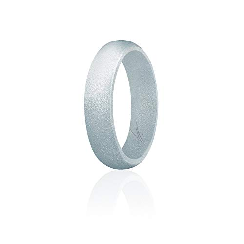 ROQ Silicone Wedding Ring for Women, Affordable Silicone Rubber Band, Silver - Size 6
