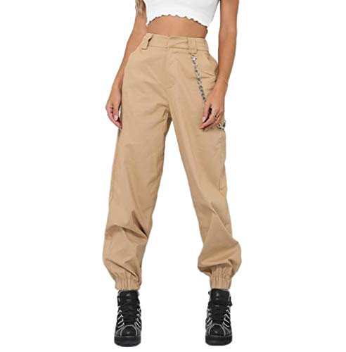 RUEWEY Women High Waist Hip Hop Dance Tapered Cargo Jogger Pants Trousers Harem Baggy Jogging Sweatpants (L, Khaki)