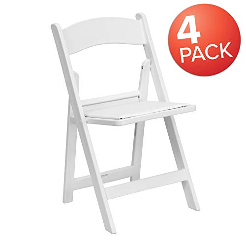 Flash Furniture 4 Pk. HERCULES Series 1000 lb. Capacity White Resin Folding Chair with White Vinyl Padded Seat, 4-LE-L-1-WHITE-GG