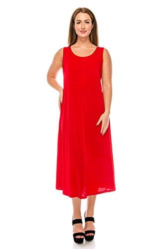 Jostar Women's Stretchy Tank Long Dress Sleeveless Plus 2XL Red