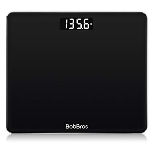BobBros Digital Body Weight Scale, Bathroom Scale Smart with Step-on Technology, High Precision Weight Loss Monitor, 400 Pounds Black