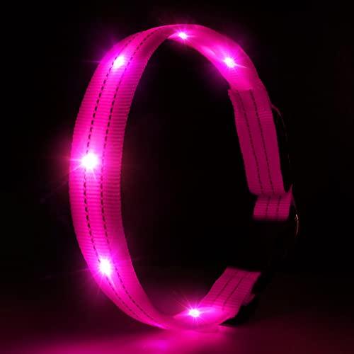 LED Hundehalsband Leuchthalsband Wasserdicht Leuchten Hundehalsband USB Wiederaufladbare Blinkende Hundehalsbänder Einstellbar Super Bright für Nacht Dunkel - Rosa - M