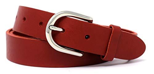 Ledergürtel Damen schwarz 3 cm - MADE IN GERMANY - 100% echtes Leder, schmal (100 cm Bundweite = 115 cm Gesamtlänge, Rot)