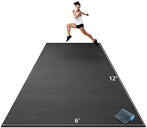 """Premium Extra Large Exercise Mat - 12' x 6' x 1/4"""" Ultra Durable, Non-Slip, Workout Mats for Home Gym Flooring - Plyo, MMA, Cardio Mat - Use with or Without Shoes (144"""" Long x 72"""" Wide x 6mm Thick)"""