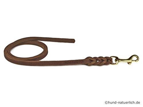 hund-natuerlich Fettlederleine 5m braun mit Messing Haken, Schleppleine aus Leder für Hunde (5m x 8mm)