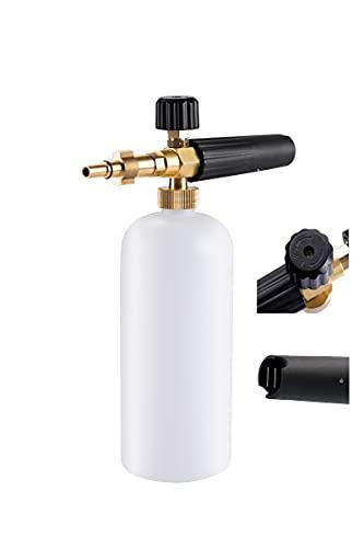 Stone Banks Espuma de jabón Car Wash con Boquilla de Espuma Ajustable, dispensador de jabón, Botella de 1L y Adaptador de Rosca para Bosch, Black and Decker, Lavadora a presión Interskol