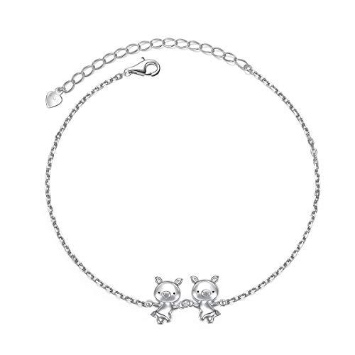 925スターリングシルバー かわいい豚のペンダント ネックレス イヤリング リング ブレスレット レディース ガールズ ジュエリー 誕生日 クリスマスギフト