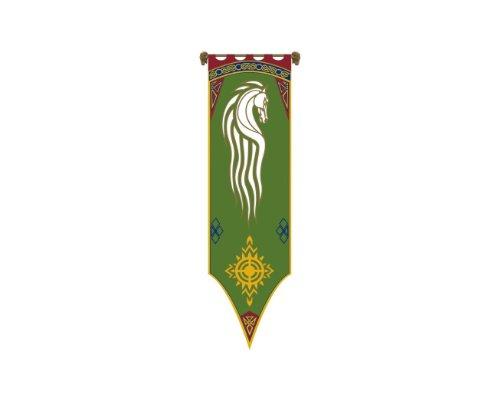 Filmwelt Shop Herr der Ringe - Fahne - Das Banner von Rohan - 56x196 cm + Aufnäher Set