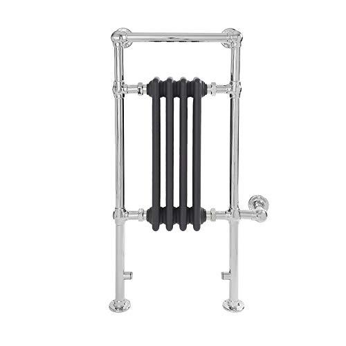 Hudson Reed Elizabeth Elektrische Handdoekradiator Met Verwarmingelement Chroom en Antraciet 93cm x 45,2cm x 15,5cm