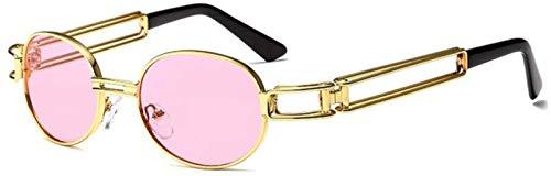 ZHANG Gafas De Sol para Mujer Gafas De Sol Redondas De Moda para Mujer Hombre Montura Metálica Vintage Gafas De Sol Steampunk para Hombre Sombras Uv400,F