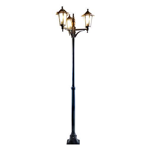 Außen-Garten-Steh-Wege-Leuchte-Lampe KINGSTON XXL 3 flg. schwarz IP44 Aluminium Druckguss Wege-Straßen-Laterne-Leuchte-Lampe