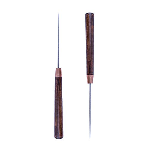 ZLKSKER Pack of 2 Leather Scratch Awl with Wooden Handle Sewing Tailors Awl for Punch Stitching DIY Handmade Leather Craft Repair Tools