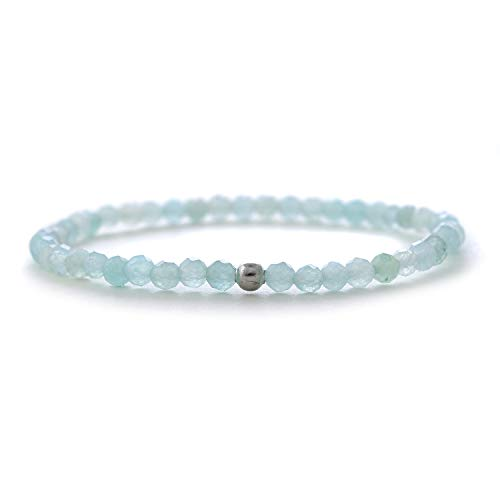 Aquamarin-Armband mit Silber-Perle