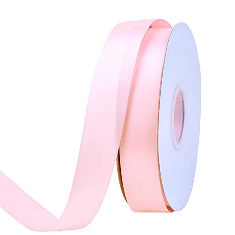 Ribest 1 inch 50 Yards Solid Double Face Satin Ribbon Per Roll for DIY Hair Accessories Scrapbooking Gift Packaging Party Decoration Wedding Flowers Light Pink