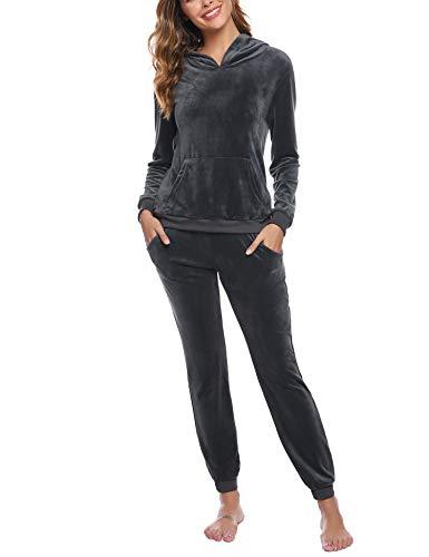 Akalnny Survetement Femme, Jogging Femme Ensemble Sportswear à Capuche Pas Cher Pyjama Femme d'Intérieure(Gris,XXL)