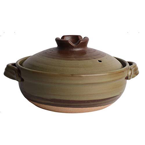 Japanischer Keramik-Hot-Pot-Auflauf Bank-Steingut-Tontopf runde Auflaufform hitzebeständiger Suppentopf Health Slow Cooker zum Schmoren von Reis A 1 2 l