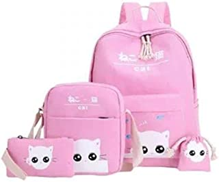 Printed School Backpack Set 4-Piece Pink/White