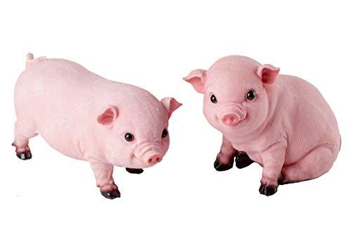 2PCS Animal Garden Farm Statue - Cute Pig Figurines - Funny Outdoor Piggy Sculpture Resin Lawn Ornaments Decor - Best Indoor Outdoor Figurines for Patio Yard and House