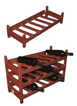 Botellero Terracota Apilable Plástico para Vinos, Mostos, Bebidas y Licores (60 cm x 25 cm x 13,5 cm) - 1 pieza - Capacidad 6 Botellas