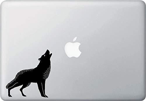 Tra56owe Wolf Howling at the Moon, Macbook, portátil, vinilo para uso en interiores, (4 pulgadas de ancho x 4.2 pulgadas de alto) (negro y blanco)