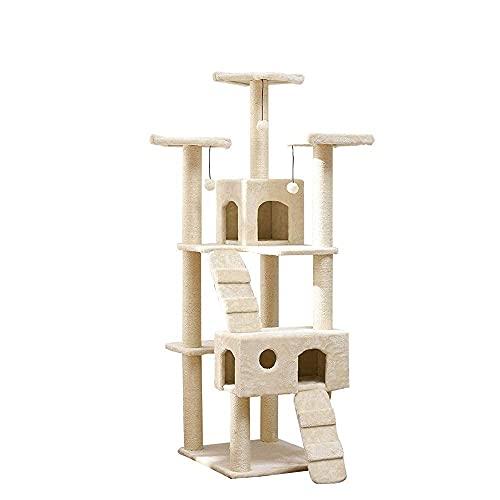 YAMMY Marco de Escalada para Gatos Suministros para Mascotas Marco de Escalada para Gatos Madera Maciza Doble Fila a través de Tianzhu Estante para Gatos Rasguño de árbol de Gato (árbol de Gato)