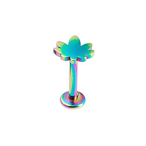 BlackAmazement 316L Edelstahl Labret Ohrstecker Tragus Helix Piercing Anker Alien Hanfblatt Kreuz Gecko Lizard Rosegold Silber Regenbogen Schwarz Herren Damen (Modell Hanfblatt - Farbe Mehrfarbig)