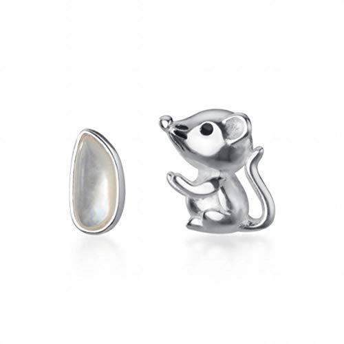 S925 Silber Asymmetrische Maus Liebe Reis Ohrringe Kreatives Design Ratte Jahr Geschenk Ohrringe, Katylen, Silber