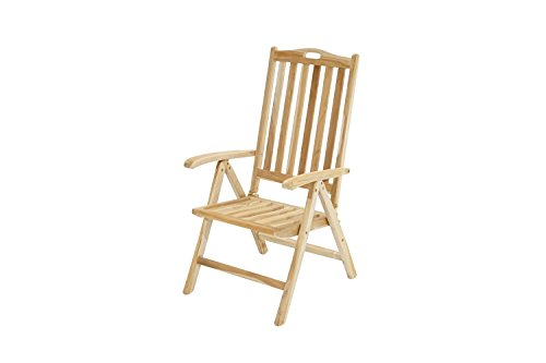 Ploß Klappsessel Ohio Eco - Teakholz-Sessel mit SVLK-Zertifikat - Terrassensessel klappbar - Holz-Gartenstuhl Braun - Gartensessel mit Lehne 5-fach verstellbar - Balkonsessel mit Tragegriff