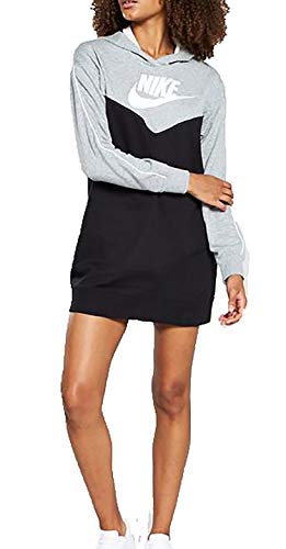 Nike W NSW Hrtg Hoodie Dress SB, Mujer, Black/dk Grey Heather/White/White, M