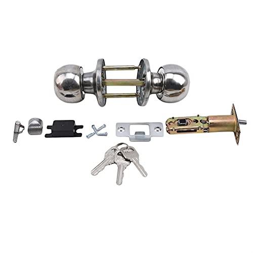 HXiaoF Home Door Locks Round Ball Privacy Door Knob Set Bathroom Handle Lock with Key for Home Door Hardware Accessories (Size : 451878)