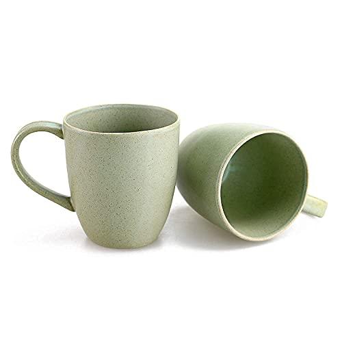 STAR MOON Steingut-Tasse 420 ml Kaffeetasse, eleganter europäischer Charm, Keramik, Steingut, mikrowellen- und spülmaschinenfest, 2er-Set (Jade)