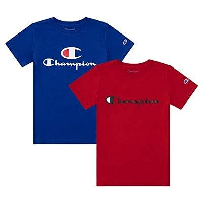 Champion Heritage Boys 2 Pack Logo Tee Shirt Top Sets Kids Clothes (Surf The Web C/Scarlet Script, Large)