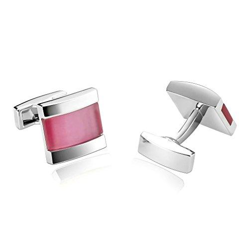 AnazoZ Joyería de Moda 1 Par Gemelos de Hombre Acero Inoxidable Forma Cuadrada Color Rosa Gemelos Para Hombre