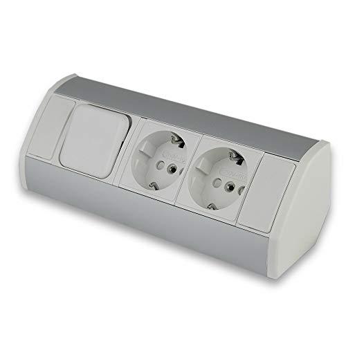 Enchufe para muebles blanco con interruptor de luz, ideal para cocina y oficina, montaje vertical y horizontal, 3 enchufes de esquina de aluminio y plástico