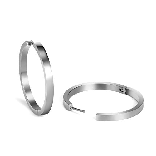 TGNEL Ti2 Titanium Large Hoop Earrings for Women High Polished Lightweight Huggie Earrings 38mm 30mm Diameter (30)