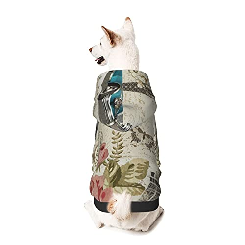 Sudadera con Capucha para Perros con Postal Vintage de París, Ropa para Cachorros y Gatos, Sudadera con Capucha con Estampado 3D para Mascotas, Apta para Mascotas pequeñas o Grandes, Perro o Gato
