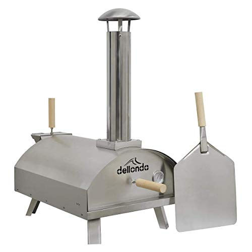 Dellonda Portable Wood-Fired Pizza Oven and Smoking Oven with Stone Baking Board & Stainless Steel Pizza Paddle/Peel (Stainless Steel)