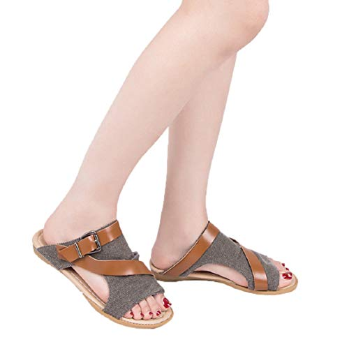 LowProfile Womens Linen Hollow Breathable Shoes Peep Toe Strappy Buckle Flat Sandals Summer Stretch Slip-On Shoes