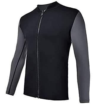 REALON Wetsuits Top Jacket Vest Mens Women 2mm Neoprene Long Sleeve/3mm Sleeveless Shirt Front Zip Sports XSPAN for Scuba Diving Surf Swimming Snorkel Suit  2mm Wetsuit Top Men/Black XXXL