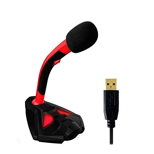 QCHEA Voz - Gaming Micrófono USB de Escritorio for computadora - Compatible con PC, Laptop, Mac, PS4 - Micrófono de Escritorio Profesional con Soporte - Grabación, transmisión, Youtube, Podcast Mics,