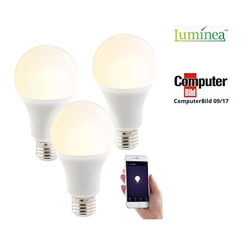 Luminea Home Control Funk Lampen: 3er-Set WLAN-LED-Lampen, mit Sprachsteuerung, E27, 1.050 lm, CCT (WiFi Leuchtmittel)