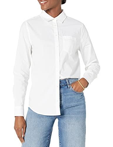 Amazon Essentials – Camisa de popelín de manga larga de corte clásico para mujer, Blanco, US M (EU M - L)