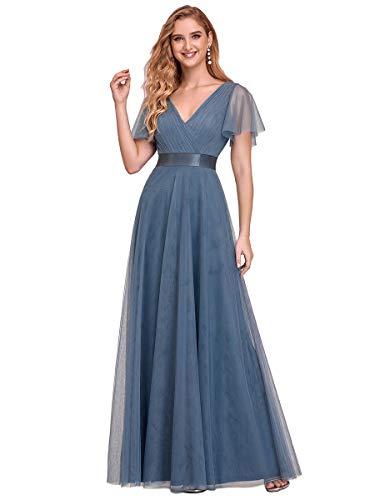 Ever-Pretty Vestito da Festa Donna Linea ad a Tulle Abito da Sera Scollo V Lungo Cerimonia Dusty Navy 54