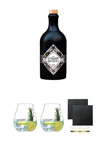 The Illusionist Dry Gin 0,5 Liter + Gin Tonic Glas - 5414/67 + Gin Tonic Glas - 5414/67 + Schiefer Glasuntersetzer eckig ca. 9,5 cm Ø 2 Stück